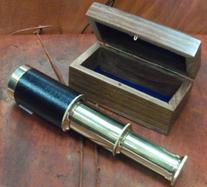 "6"" Handheld Brass Telescope with Wooden Box - Pirate"