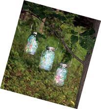 Set of 3 LARGE Hanging Fairy Light, Mason Jar Solar Powered
