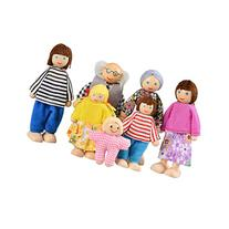 Arshiner Wooden Happy Doll Family of 7 People