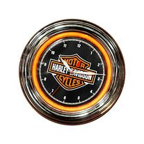 Harley-Davidson Bar & Shield Orange LED Wall Clock - 12in