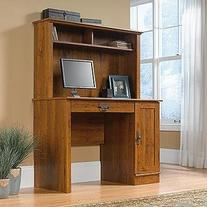 Sauder Harvest Mill Computer Desk with Hutch, Abbey Oak