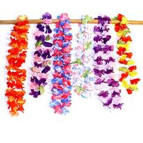 Dazzling Toys Hawaiian Ruffled Simulated Silk Flower Leis- Pack of 12