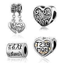 Heart Love Family Charms, 4 Beads Mix, Best Mom, Mother