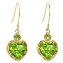 3.24 Ct Heart Shape Green Peridot 14K Yellow Gold Earrings