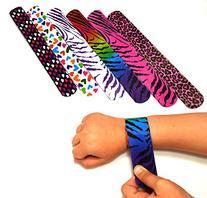 Dazzling Toys Hearts/animal Print Slap Bracelets - Pack of