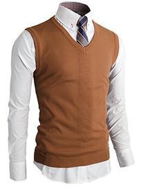 H2H Men's Heather Diamond-Texture Stitch V-Neck Vest BROWN
