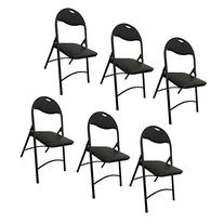 Heavy Duty Black Metal Folding Chair with Padded Seat for