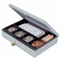 -- Heavy-Duty Steel Low-Profile Cash Box w/6 Compartments,