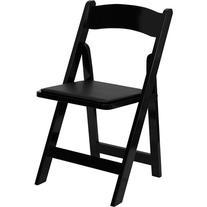 HERCULES Series Black Wood Folding Chair - Padded Vinyl Seat