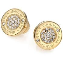 Michael Kors Heritage Plaque Pave Logo Stud Earrings/