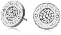 Michael Kors Heritage Plaque Silver Logo Crystal Stud