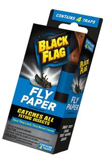 Black Flag Fly Paper Insect Trap, 4-Count