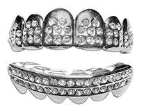 Hip Hop Platinum Silver Plated Removeable Mouth Grillz Set