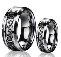 His & Her's 8MM/6MM Tungsten Carbide Celtic Knot Dragon and
