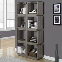 Monarch 71 inch Hollow Core Bookcase in Dark Taupe