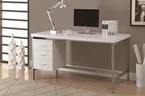 Monarch Hollow-Core/Silver Metal Office Desk, 60-Inch, White