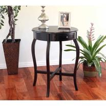 Home Craft Round End Table, Espresso Finish