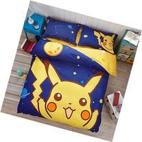EsyDream Home Kids Duvet Cover Sets,100% Cotton Pikachu