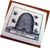 Honey beehive rubber stamp, vintage WM P39