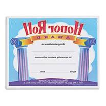 Honor Roll Award Certificates, 8-1/2 X 11, 30/pack By: TREND