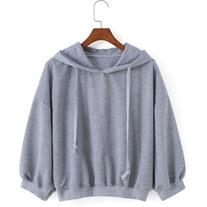 Hooded Drawstring Loose Grey Sweatshirt