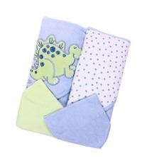 Spasilk Hooded Terry Bath Towel with Washcloths, Dino Blue,