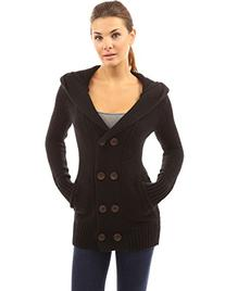 PattyBoutik Women's Hoodie Double Breasted Knit Sweater Coat