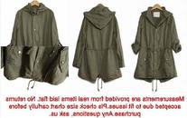 Womens Hoodie Drawstring Army Green Military Trench Parka