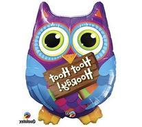 """""""Hoot Hoot Hooray"""" Purple Blue Owl Pink Orange Sign Large 36"""