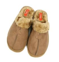 MEN'S HOUSE CLOSED FRONT SLIPPERS WITH FUR - BLACK BROWN