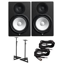 Yamaha HS8 Active Studio Monitors w Speaker Stands and TRS