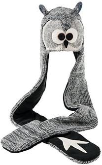 Nirvanna Designs HSOWL Owl Hat Scarf, Grey, 11 Years