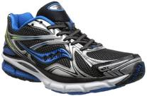 Saucony Men's Hurricane 16 Running Shoe,Black/Blue/Citron,12