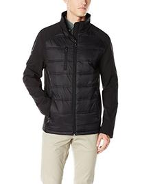 Calvin Klein Men's Hybrid Puffer and Softshell Jacket, Black