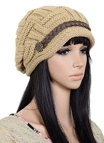 Senchanting Women's Slouch Knitted Crochet Ski Beanies Beret