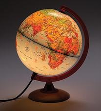 Illuminated Pictorial Globe with Wood Base