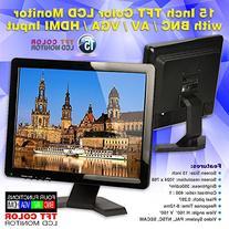 "Soter® 15"" Inch HDMI/BNC/AV/VGA Input TFT LCD Monitor 4:3 /"