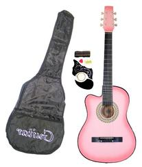 """38"""" Inch Student Beginner Pink Acoustic Cutaway Guitar with"""