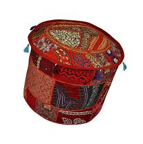 Indian Pouf Stool Vintage Patchwork Decorative Ottoman Cover