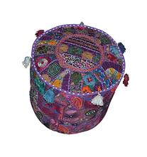 Indian Round Patchwork Embroidered Ottoman Pouf Bohemian