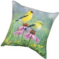 Manual Indoor/Outdoor Pillow, Yellow Finch Field X James