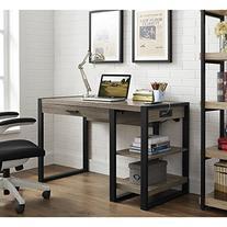 "WE Furniture 48"" Industrial Wood Storage Computer Desk,"