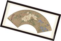INK WASH Unframed Vintage Chinese Asian Wall Fan White