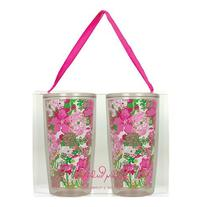 Lilly Pulitzer Insulated Tumbler Set, Beach Rose - Kitchen