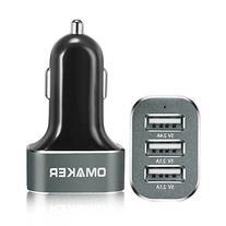 Omaker Intelligent 6.6A / 33W Premium Aluminum 3 USB Car