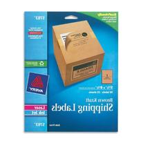 """Avery Kraft Brown Shipping Labels 5-1/2"""" x 8-1/2"""", Pack of"""