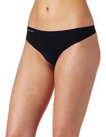 Calvin Klein Women's Invisibles Thong Panty, Black, X-Large