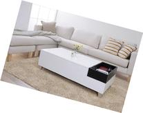 ioHOMES Audra Coffee Table with Serving Tray, White