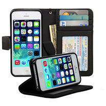 Navor Flip Wallet Book Case   for iPhone 5 / 5S / SE - Black