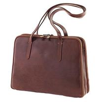 Chiarugi Italian Leather Briefcase Shoulder Bag - Brown